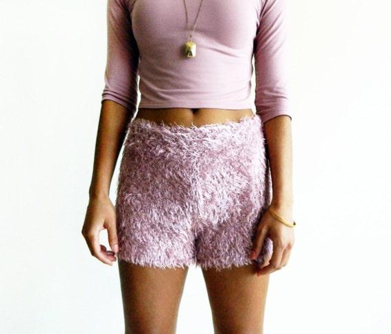 Mauve Eyelash Bouclé Shorts
