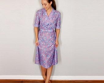 Vintage Purple Dress Geometric Print 1960s Lavender Midi Dress //  Collared Short Sleeve // Medium, Small, XS