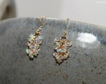 Genuine Fire Ethiopian Opal Earrings, Ethiopian Opal Jewelry, Welo Opal, Dangle Cluster Earrings, October Birthstone, Sterling Silver & Gold