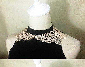 statement necklace // beige butterfly lace collar necklace / hand dyed black  lace accessory / gift for her