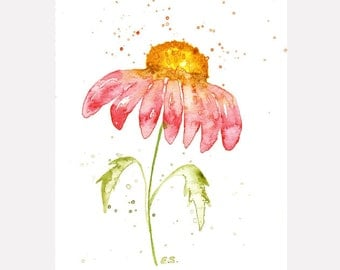 Flower painting Original watercolor floral nature art Gerbera Daisy wall decor spring home decor Pink red yellow