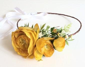 Yellow Flower Crown- Bridesmaids Headband- Yellow Wedding Headpiece- Bohemian Wedding Headband- Photo Prop
