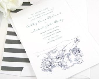 Gatlinburg, Tennessee Skyline Wedding Invitations Package (Sold in Sets of 10 Invitations, RSVP Cards + Envelopes)