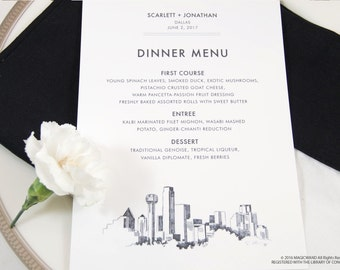 Dallas Skyline Dinner Menus (Sold in sets of 25)