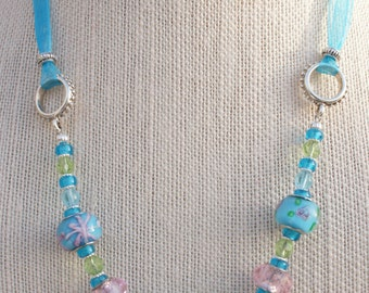 Lampwork Necklace, Glass Bead Jewelry, Turquoise Necklace, Glass bead earrings, Blue earrings, Blue Necklace, Free Shipping, Item #355