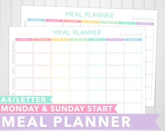 Letter & A4 Meal Planner Printable | Monday And Sunday Start | Pastel | Meal Planning | Food Journal | INSTANT DOWNLOAD