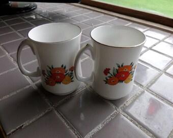 Crown Sterling England Buckingham Asters Mugs, Bone China mugs, Vintage mugs, 1980's coffee mugs