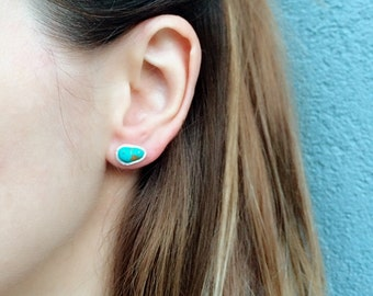 Sterling Silver Raw Turquoise Stud Earrings|Silver Post |Gemstone Studs|Bohemian Jewelry|December Birthstone|Dainty|Gold and Rose Gold