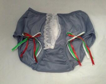 PH11N289 Grey Lingerie Fantasy underwear sheer nylon women bow briefs panties Lace knickers Free Shipping