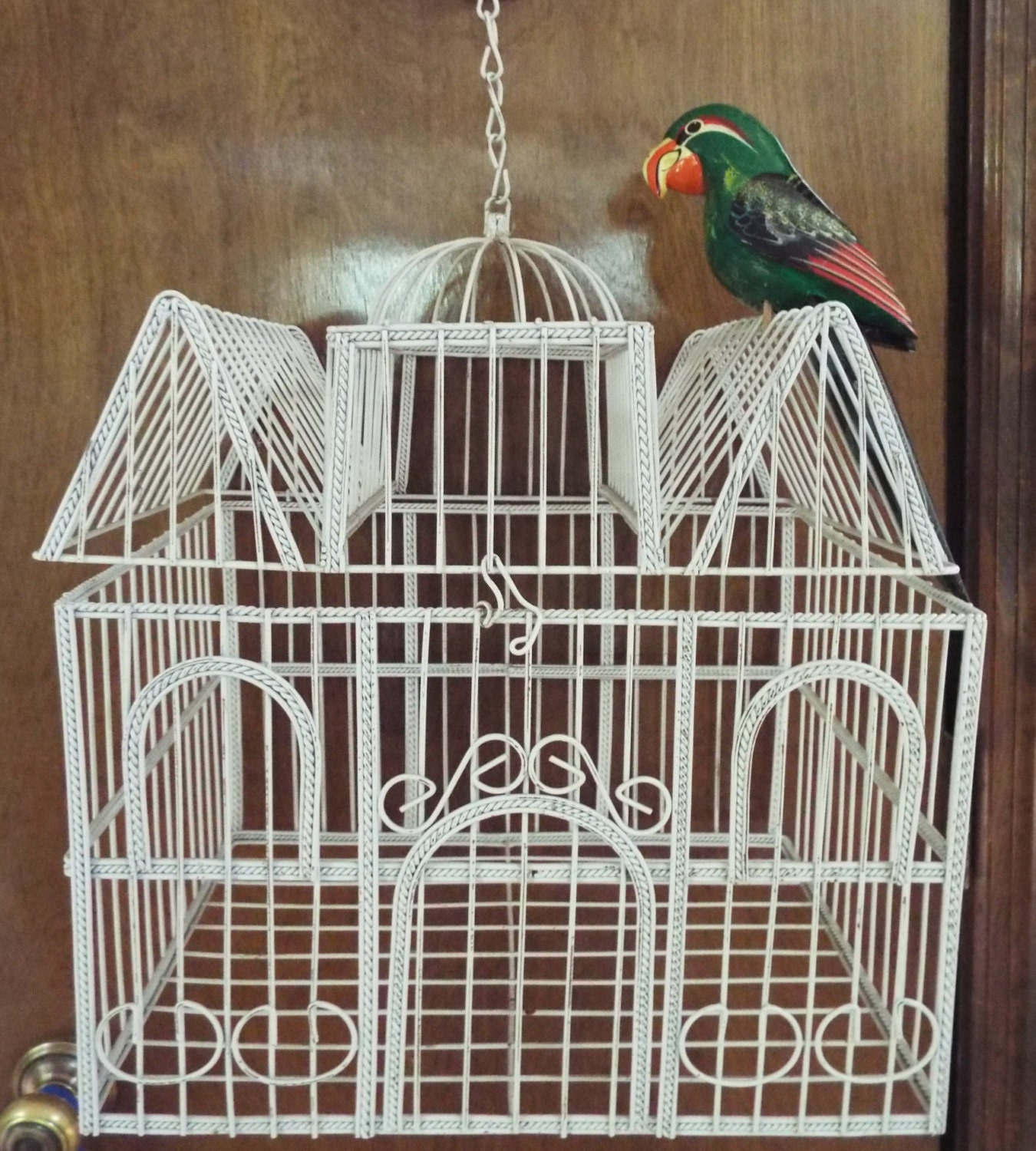 Bird Cage House White Finished Metal Wire Decorative
