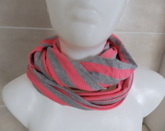 great loop scarf scarf accessories Cotton Jersey handmade grey pink