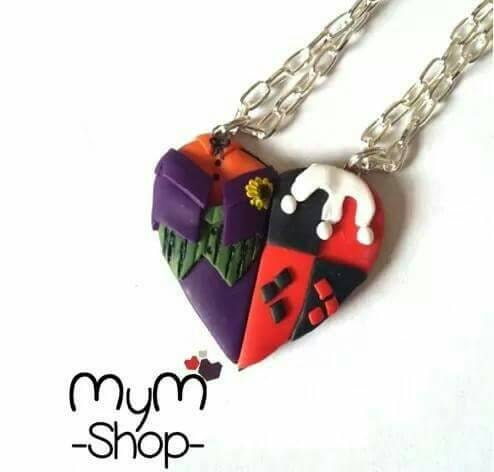 Heart couple necklaces harley quinn and joker kawaii love for Harley quinn and joker jewelry