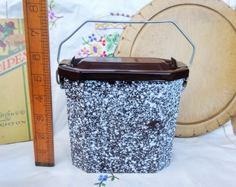 Vintage French Enamel Lunch Pail Lunch Box Tin Kitchenalia Brown and White Speckles