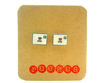 Love Letter Stud Earrings, Love Letter Jewelry, Mail Necklace, Love Gift, Envelope Earrings, Envelope Jewelry