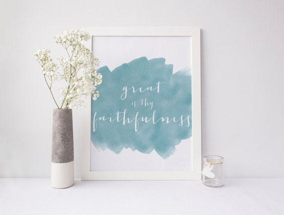 Hymn Art INSTANT DOWNLOAD 8x10 Printable Watercolor Art Print, Great is Thy Faithfulness Scripture, Home Decor Wall Gallery Print