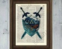 Zelda Skyward Sword - Master Swords and Shield - Antique Dictionary Book Page Art Print