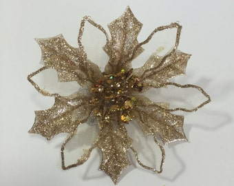 Sparkly Gold Poinsettia Corsage