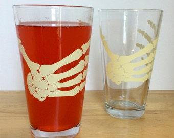 Skeleton Hand Pint Glass