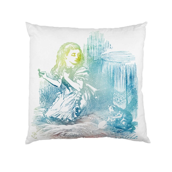 Alice In Wonderland Water: Alice In Wonderland Cat Watercolour Cushion Fabric Water