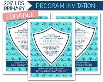Sacrament Program Invitation - LDS Primary 2017 Theme PRINTABLE Choose the Right Invite Annual Yearly Presentation Sacrament Meeting P007