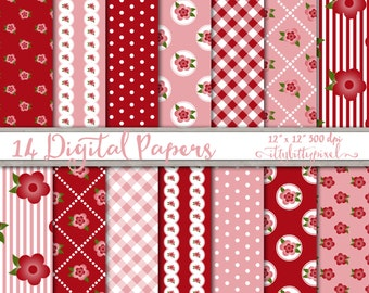 Red Pink Shabby Chic Scrapbook Paper Digital Shabby Chic Paper Pack, Country Cottage Floral Flowers Rustic Scrapbooking Printable Paper