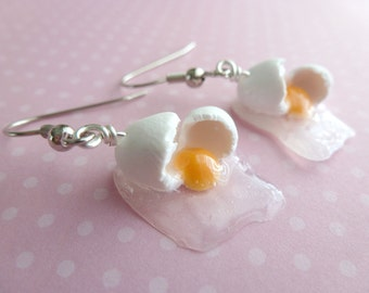 Chef Gifts Cook Gift Miniature Food Jewelry Cracked Egg Gifts for Her Earrings Polymer Clay Earrings