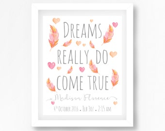 Feather Print, Dreams Come True Print, Nursery Quote, Nursery Wall Art, Peach Nursery, Birth Announcement Wall Art, Personalised Baby Gift