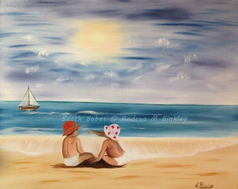 Beach Babes - Seascape with children and boat Oil Painting Fine Art Print, Kids Wall Art, Baby room decor, gift, Free Shipping