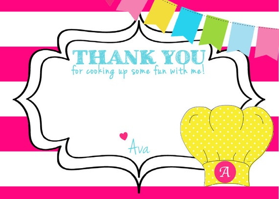 Thank You For Baking: Cooking Party Baking Party Pizza Party By ForTheLoveOfPaperTX