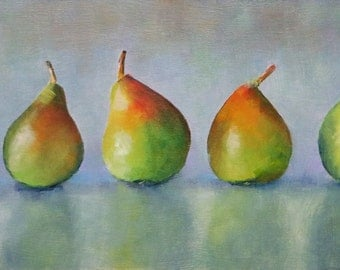 Original Oil Painting of Five Pears in a Row