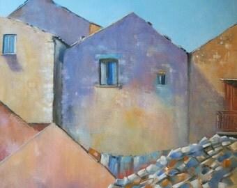 Original oil painting, Italian houses, Sicilian village