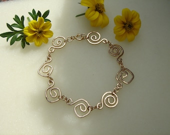 Goldarmaband with spirals, 585 gold filled, very elegant and trendy