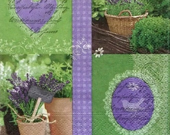 Set of 3 pcs 3-ply Lavender collage paper napkins for Decoupage or collectibles 25x25cm, Cocktail napkins