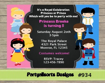 125 DIY - Princess and Prince Party Invitations Cards.