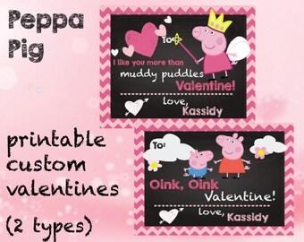 Peppa Pig Valentines Kids School Party Fairy Peppa Chalkboard Chevron Printable Digital  2 varieties