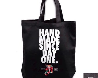 """DCollective """"Hand Made"""" Cotton Canvas Tote Bag"""