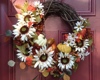 Autumn Floral Wreath with Ivory Sunflowers, Mums, Daisies, Fall Gourds and Pumpkins on a Grapevine Wreath. Fall Faux Flowers Wreath.