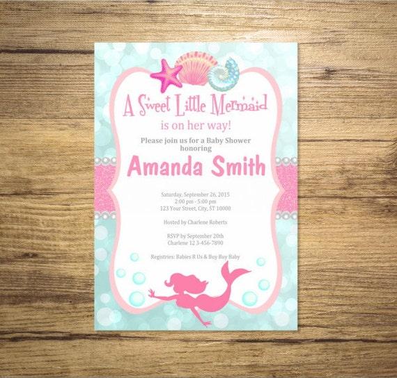 mermaid girl baby shower invitation mermaid under the sea baby shower invitation digital or