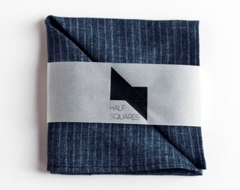 Mens pocket square denim blue with white stripes - fall fashion trends - gift idea for him accessory