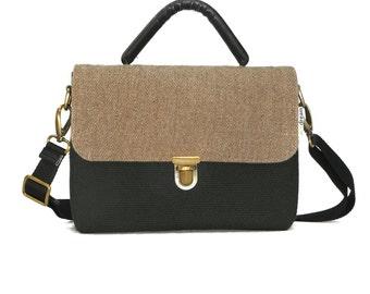 Women handbag with shoulder strap; beige and black; eco-friendly, vegan - DISCOUNT 35%