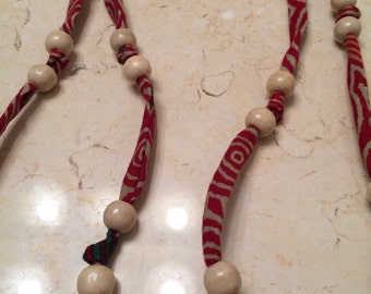 Fabric and bead necklace