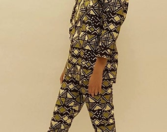 African Clothes High Collar African Print Pant Set
