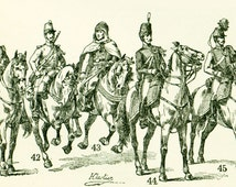 1897 Cavalry Army Uniforms Horses Equestrian antique Print Larousse dictionnary french vintage 115 YEARS OLD