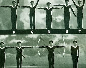 1948 Alphabet Semaphore Flag International Signals Original print  Larousse scrapbooking framing home decor