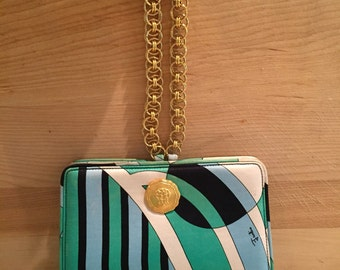 Vintage Pucci Evening Bag 1970's Gold Tone Hardware Chain Handle  Signed