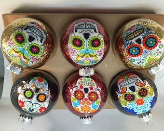 Sugar Skulls Glass Ornaments Set of 6