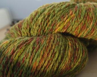 Handspun Yarn Multicolor Green Brown
