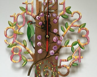 Hand painted lasercut clock. Spring design. Free UK delivery.
