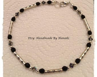 Black and Silver Anklet  (C23)