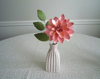 Handmade Paper Dahlia in Striped Bud Vase